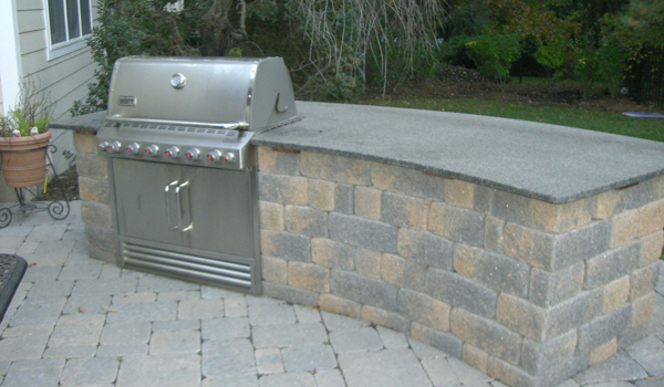 Outoor grill with stone masonry
