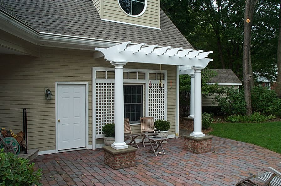 Landscape Pergola and Patio with Seating Area
